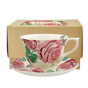 Large Cup & Saucer Pink Roses