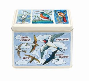 Large Rect Caddy Tin Birds