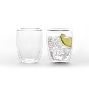 2x Duplex double wall glass cup 350ml